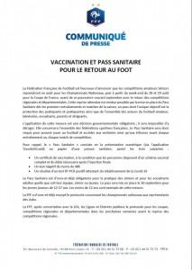 communiqué FFF Pass Sanitaire 1