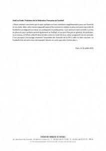 communiqué FFF Pass Sanitaire 2